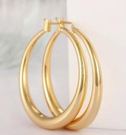 18K Gold Plated Round French Lock Hoop Earrings with Gift Bo