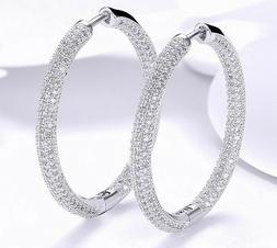 18K White Gold Hoop Earrings Made with SWAROVSKI crystals IT