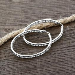 """3"""" Brilliant Round Pave Hoop Earrings 18K White Gold Plated"""