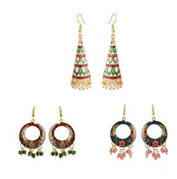 3 Pairs Set Indian Women Fashion Jewelry Handmade Collection