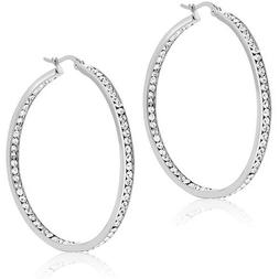 """AVENTURA 3"""" with Crystal Hoop Earrings 18K White Gold Plated"""