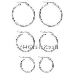 3Pairs Women Stainless Steel Twisted Gold Silver Small Hoop