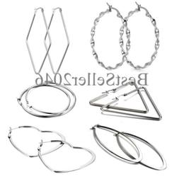 6 Pairs Women Girls Silver Tone Stainless Steel Large Hoop E