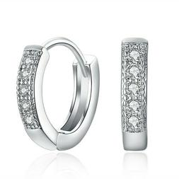 925 sterling silver plated cz cubic huggie