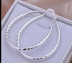 """925 Sterling Silver Women's Diamond Cut Etched Oval 2"""" I"""