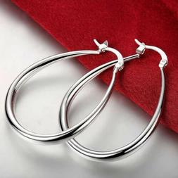 925 Womens Silver Medium Classic Oval 1 In X 1.5 in Hoops 40