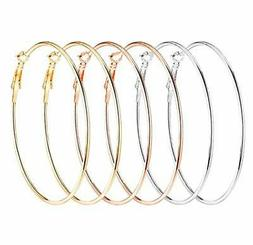 Fashion Pearl Hoop Earring Sets for Women Girls 60mm Stainle