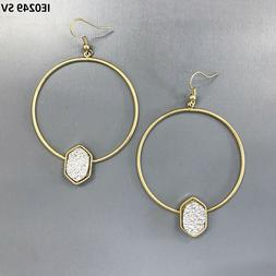 Gold Hoop Style Silver Marquise Druzy Stone Design Drop Dang