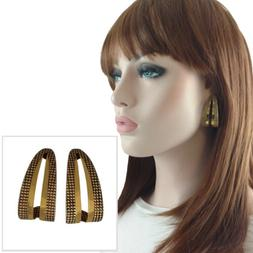 Gold Tone Antiqued Half Hoop Textured Cut Out Dotted Pierced