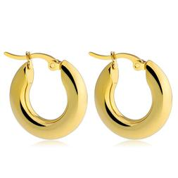 Small Chunky Gold Hoop Earrings for Women Stainless Steel Th