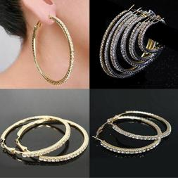 Small to Large Silver Gold Rhinestone Crystal Hoop Earrings
