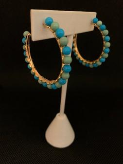 Turquoise & Sterling Silver Yellow Gold Vermeil Hoop Earring