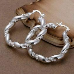 Women Fashion Jewelry 925 Sterling Silver Plated Twisted Hoo