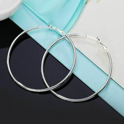 Women Real 925 Sterling Silver Thin Solid Large Hoop Earring