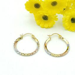 Women's Jewelry Tri-Color Gold Plated Hoop Earrings. Coqueta