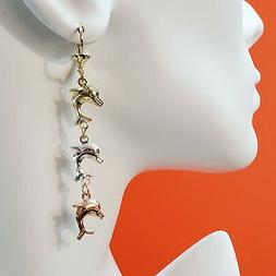 Women's Tri Color Gold Plated Dolphins Drop Dangle Long Earr
