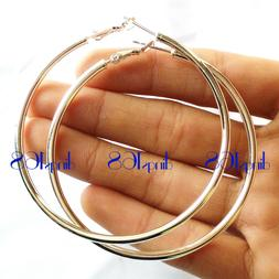 Women's925 Sterling Silver Hypo-Allergenic Large 70MM Tubula