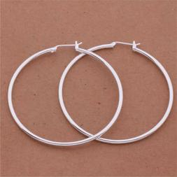 """Womens 925 Sterling Silver 50mm 2"""" Big Round Large Thin Ho"""