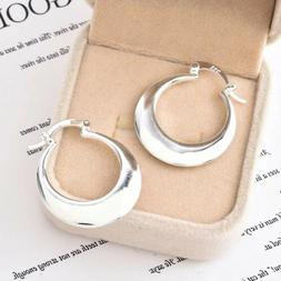 Women's 925 Sterling Silver Smooth Crescent Moon Hoop Earr